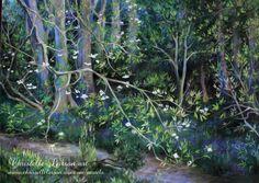 Le sous bois aux jacinthes, pastel sec sur pastelmat, format 70 x 50 cm Saint Germain, Pastels, France, Plants, Plant, Planets, French