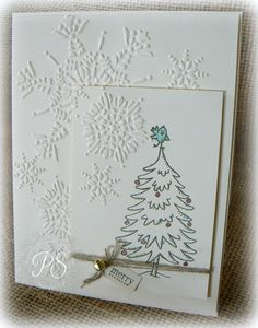 Snow Much Fun is used in this cute CAS card by Penny. She also used the Northern Flurry embossing folder.