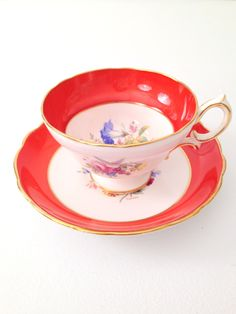English Hammersley Bone China Tea Cup and Saucer Tea Party Cottage Style - c. 1939 - 1950s by MariasFarmhouse on Etsy https://www.etsy.com/listing/195194454/english-hammersley-bone-china-tea-cup