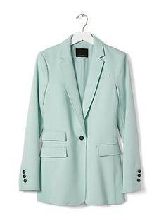 Turquoise One-Button Blazer | Banana Republic