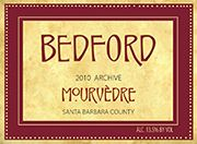 "2010 Mourvedre ""Archive"" Santa Barbara County A rich, full-bodied red with aromas of dark red fruits (particularly plums, cherries and currants), leather, and earth. Two years in barrel assisted in creating a finish that is soft, silky, and luxurious. Pair this wine with grilled and roasted meats, root vegetables, mushrooms, and dark fowl such as duck – flavors that harmonize with the earthiness of the wine. http://bedfordwinery.com/?p=2971"