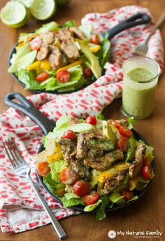 Paleo Sizzling Cilantro Lime Fajita Salad with Honey Lime Vinaigrette Recipe