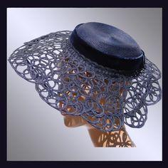 Vintage 1940s Lace Straw Hat // Openwork Wide Brim Navy Blue Ladies from poppysvintageclothing on Ruby Lane