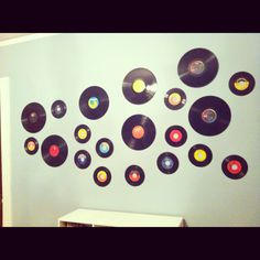 Easy way to decorate w/ old records! WE have a ton in our closet...so this make it's way into the new house