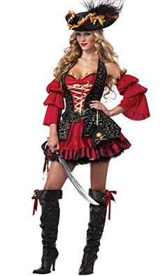 Fashionclubs Halloween Women Spanish Pirate Cosplay Costumes Dress (XL) -- Check out this great product. (This is an affiliate link) #exercise