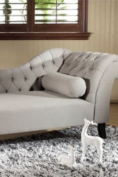 Aphrodite Beige Tufted Putty Linen Modern Chaise Lounge Chair
