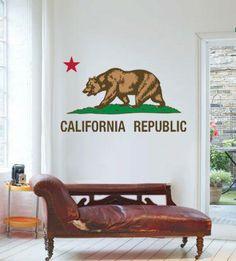 California Republic Wall decal from Street Wallz. Saved to Streetwallz Wall decals. California Bear, California Republic, Wall Stickers, Wall Decals, Diy Interior, Interior Decorating, Decorating Ideas, Portrait Wall, Landscape Walls
