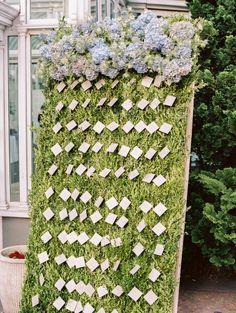 Garden inspired escort card backdrop: http://www.stylemepretty.com/2015/04/03/elegant-brooklyn-botanical-garden-summer-wedding/   Photography: Trent Bailey - http://www.trentbailey.com/