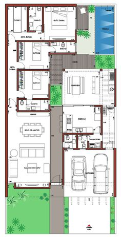 Home Plans Contemporary Houses Best Ideas Bungalow House Plans, Bungalow House Design, Dream House Plans, Modern House Plans, Small House Plans, House Floor Plans, House Layout Plans, House Layouts, Affordable House Plans