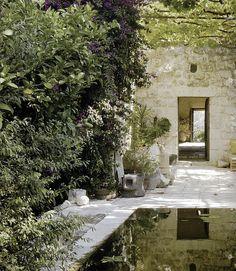 pool / vine covered arbor / stone
