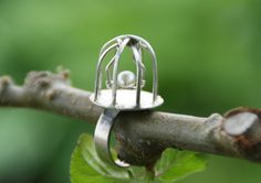 Birdcage ring with pearl on a swing
