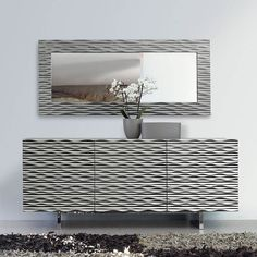 Antonello Omero Mirror and Aura Sideboard. Dimensional texturing creates curved lines and ridges making an interesting visual impact for hallways and entry areas. Sideboard Living Room Furniture, Furniture, Italian Furniture, Furniture Design Modern, Italian Furniture Modern, Contemporary Furniture, Modern Sideboard, Wooden Storage, Furniture Design