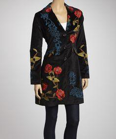 Black Rose Embroidered Velvet Coat