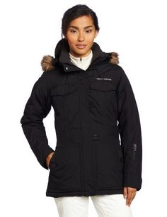 Helly Hansen Women's Plentiful Parka Jacket by Helly Hansen. $198.98. Fur hood and chin guard to keep the cold and wind out. 100% Polyamide ribstop with cotton touch. Warmcore by Primaloft®. Winter parka with slope side attitide