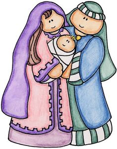 CHRISTMAS, MARY, JOSEPH AND BABY JESUS CLIP ART