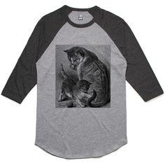 theIndie Playing Kitten (Black) 3/4-Sleeve Raglan Baseball T-Shirt