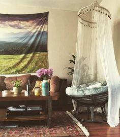 papasan and canopy Living Room Canopy, Chair And A Half, Papasan Chair, Pink Houses, Sunroom, Future House, Diy And Crafts, Sweet Home, Curtains