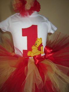 Winnie the pooh 3 piece outfit tutu tshirt headband set 9 12 18 24 2t 3t 4t long or short sleeves. $45.00, via Etsy.
