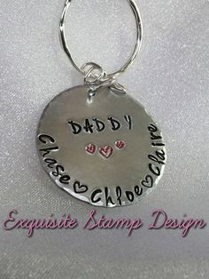 Daddy Keychain  Personalized Kids Name by ExquisiteStampDesign
