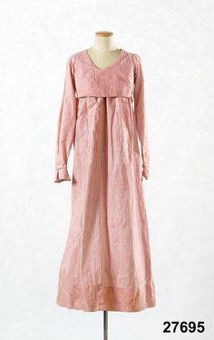 Dress: ca. 1810-1825, Swedish, striped cotton, bodice lined with linen, trim. Could be Spencer and skirt.