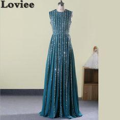 Robe De Soiree Longue Luxury Beads Crystal Long Evening Dresses 2016 Sleeveless Chiffon Formal Dress