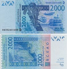 Scwpm P416db Tbb B122db 2000 Francs West African States Banknote Uncirculated Unc 2004