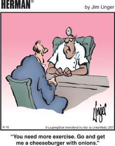 Humor In Dites & Fitness Herman - Jim Unger. Cartoon Jokes, Funny Cartoons, Funny Comics, Funny Memes, Hilarious, It's Funny, Funny Sayings, Herman Cartoon, Entertainment