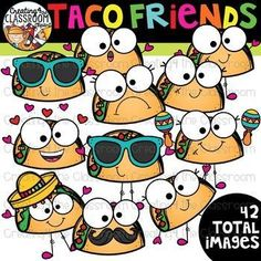 Taco Friends Clipart {Taco Clipart} Create fun resources with this vibrant Taco Friends Clipart.  #creating4theclassroom #backtoschool #teacherfreebies #clipartforteachers