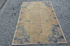 Turkish handwoven anatolian vintage wool rug   size   7x4.3 ft  212x131 cm