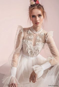 lior charchy spring 2017 bridal long sleeves illusion high neck sweetheart neck heavily embellished bodice layered skirt retro bohemian a line wedding dress (2) zv -- Lior Charchy Spring 2017 Wedding Dresses