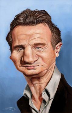 El actor Irlandés, Liam Neeson, caricaturizado por el artista Jaume Cullell.     Liam Neeson por Ja...