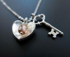 Cherish- silver key to my heart necklace