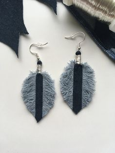 Upcycled denim earrings / Recycled jeans earrings / Sustainable jewelry / Recycled jewelry / Denim feather / Denim leaf / Unique gift by ByDashka on Etsy #jeansearrings #denimearrings #recycledearrings #upcycledjeans