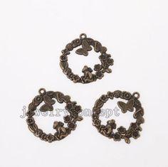 10pcs Bronze Tone Flower Butterfly Monkey Pattern Alloy Pendants Fit Findings J