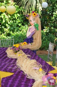 For Sarah's Bday Tangled Birthday Party Tablescape Rapunzel Birthday Party, Disney Princess Birthday, Princess Theme, Birthday Party Themes, Girl Birthday, Princess Sophia, Tinkerbell Party, Birthday Ideas, Bolo Rapunzel