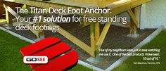 Titan deck foot anchor makes installing free standing deck foundations and footings a snap! No more digging mixing cement and waiting. Enjoy greater security than surface blocks. Deck Plans, Shed Plans, Weekend Projects, Fun Projects, Backyard Projects, Backyard Ideas, Deck Foundation, Brick Shed, Deck Footings