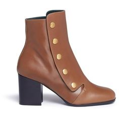 Mulberry 'Marylebone' press stud leather boots (49,205 PHP) ❤ liked on Polyvore featuring shoes, boots, brown, mulberry boots, brown shoes, leather calf boots, studded leather boots and brown boots