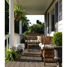 porches - wicker furniture white green striped cushions blue garden... ❤ liked on Polyvore