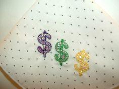 Purple Green Gold Embroidered Handkerchief by cajunstitchery, $10.00