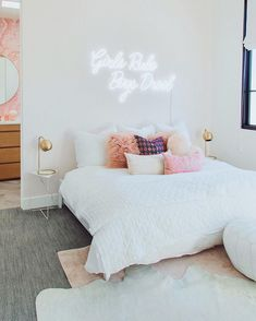 Honeybee Home // Ava's New Big Girl Room - Andee Layne Girls Bedroom Decor Room Ideas Bedroom, Home Bedroom, Bedroom Decor, Neon Sign Bedroom, Bedroom Inspo, Girls Bedroom, Modern Bedroom, Modern Teen Bedrooms, Feminine Bedroom