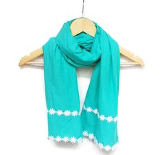 Cotton Lightweight Soft Mint Green Scarf with White by HeraScarf, $16.90