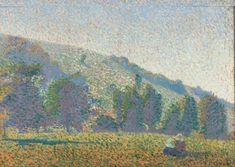 BERNARD Emile,1886 - Two Breton Women in a Meadow (Bretonnes - Prairie) -   « Je vais quelquefois contempler le coucher du soleil devant une étendue de ciel sans limite. Je vois l'astre se coucher dorant la plaine et la colline : le chant d'un paysan montant jusqu'à moi me fait songer que la poésie règne toujours parmi ceux qui ne peuvent la comprendre et que ce paysan par sa chanson envolée est une image sublime de l'homme devant la nature.»  (Emile BERNARD à ses parents, Ribay, 28 avril…