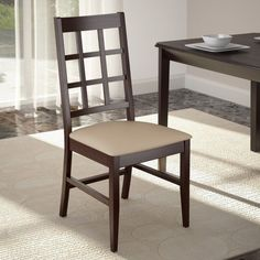 CorLiving Atwood Stained Dining Side Chairs with Leatherette Seat - Cappuccino - Set of 2 - DOC-395-C