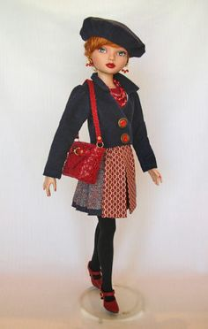 OOAK Winte Fashion Ensemble with Corduroy Jacket, knit Top, pleated Skirt, Beret, Shoulder Bag and Jewelry by Wardrobe Secrets for Ellowyne, jkinmcd on eBay ends Fr 2/13/15. SOLD for $122.49