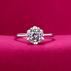 S925 Silver simulated wedding open snowflake ring amazing ring inner diameter 15.5mm slightly adjustable