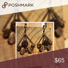 One of a kind dangle living leaf earrings Handcrafted living leaf earrings for pierced ears multi color toned bronze brown with glass beads, acrylic beads, crystals and metal alloy parts. CobbleStone Creations  Jewelry Earrings