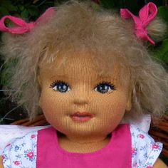 Rag doll baby Leonie / www. Sock Dolls, Doll Toys, Sewing Dolls, Waldorf Dolls, Inspiration For Kids, Soft Sculpture, Fabric Dolls, Doll Face, Softies