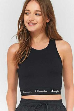 a371feb9a50 Champion Black Cropped Tank Top Black Crop Top Tank