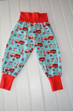 Fire Engine Harems, Blue Harems, Blue and Red Harems,  Sizes 0-5 years, Made To Order, Unisex Leggings, Baby Slouchy Pants, by BobtailsBoutique on Etsy