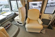 2003 Fleetwood Pace Arrow 36B $50K.  Put TV in elevator here in a desk that passenger chair can use.  Dreiser chair needs to swivel and have a footrest.